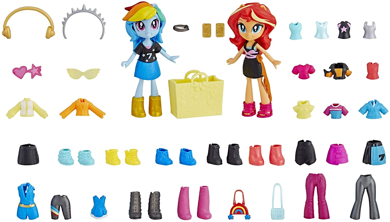MLP EG Rainbow Dash & Sunset Shimmer Fashion Squad Mini Doll Set 2